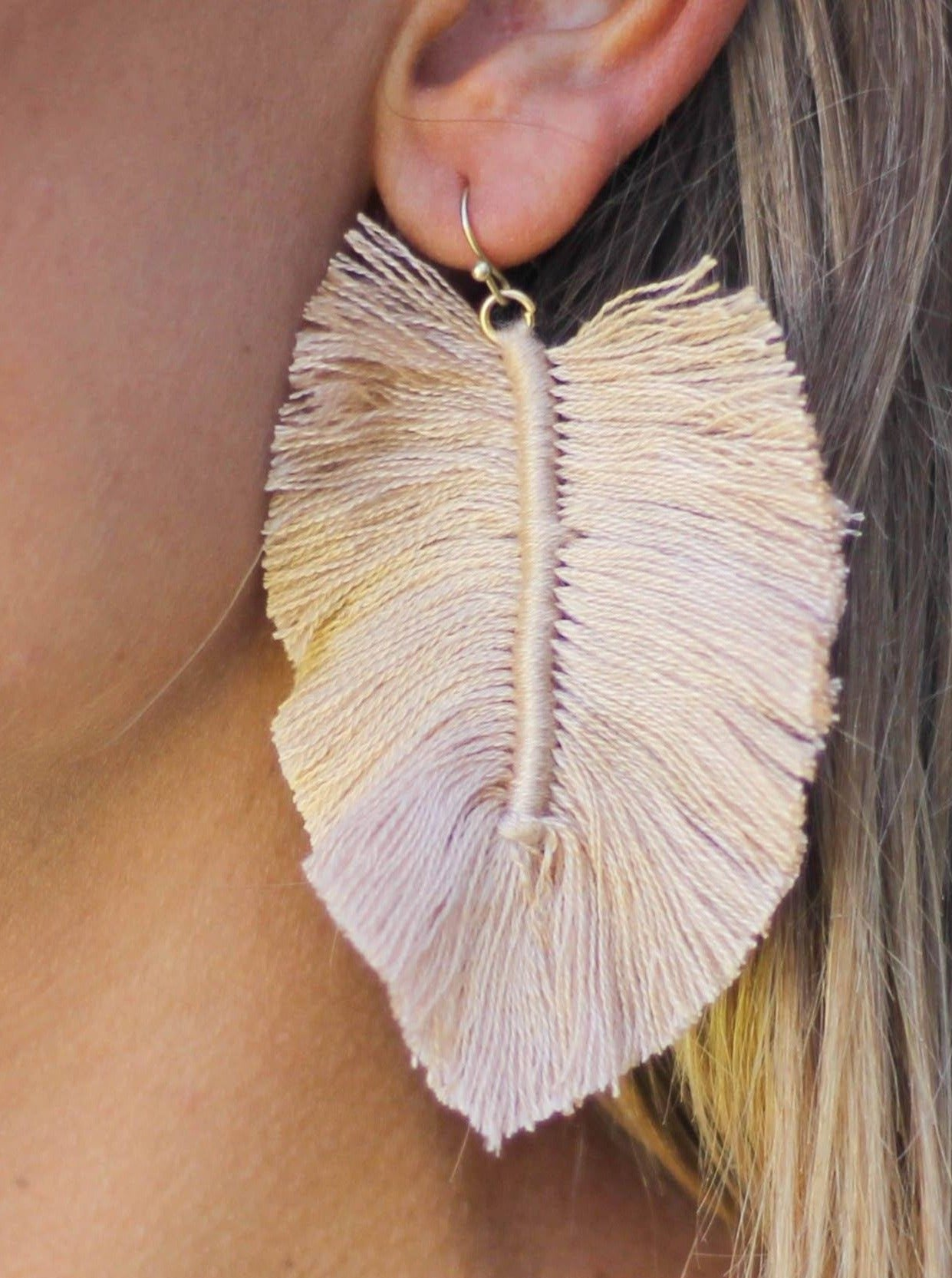 Full Fringe Earrings in Beige