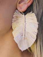 Load image into Gallery viewer, Full Fringe Earrings in Beige