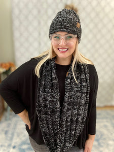 Heathered Black Infinity Knit Scarf