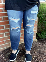 Load image into Gallery viewer, Judy Blue Ripped Leg High Rise Boyfriend Mom Jeans