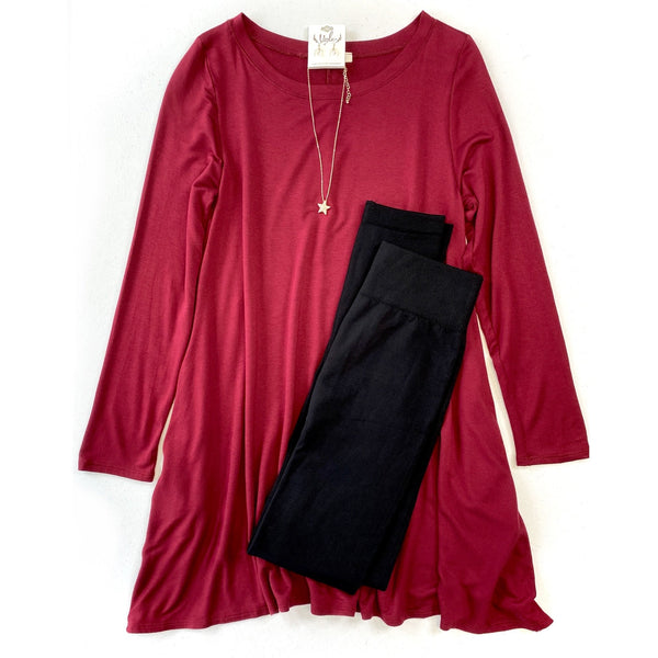 Take It Easy Tunic Dress in Burgundy