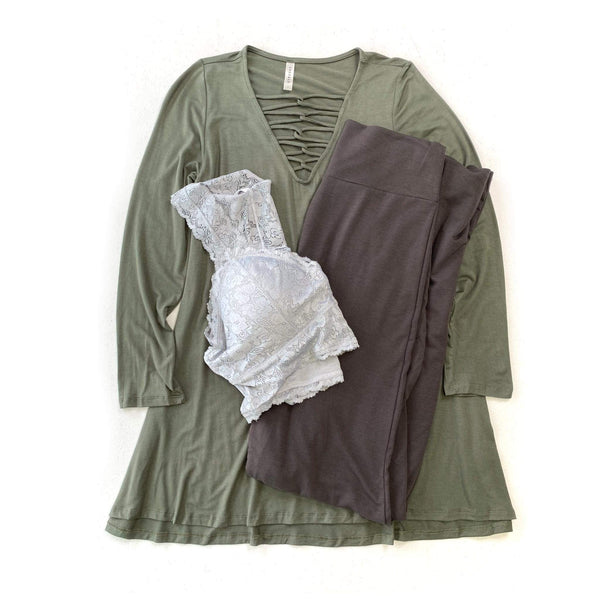 All Laced Up Top in Olive Tunic