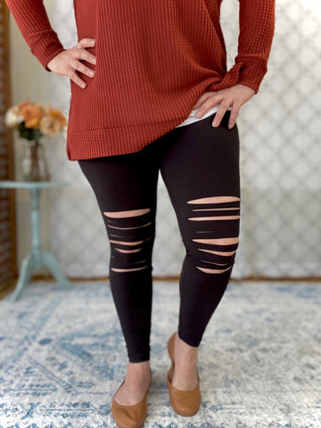 Laser Cut Leggings in Black