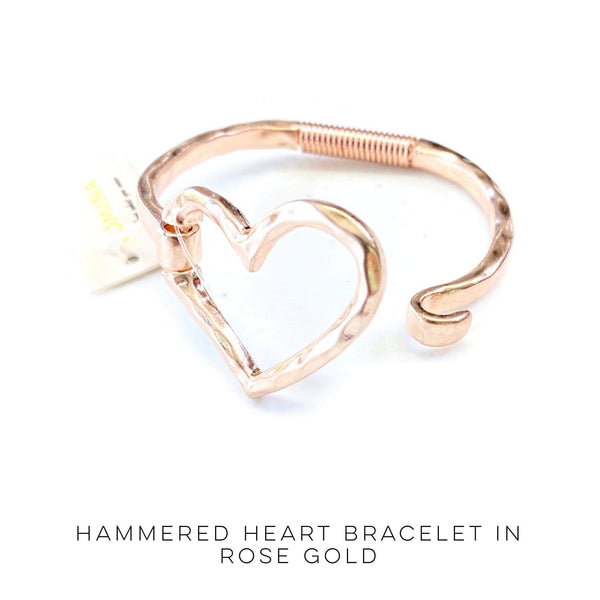 Hammered Heart Bracelet in Rose Gold