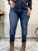 "Load image into Gallery viewer, Judy Blue Button Fly High Rise Skinny Jeans in a dark wash. 28.5"" Inseam Rise: Mid-Rise. 9"" Front Rise Material: 71% COTTON / 21% RAYON / 7% POLYESTER / 1% LYCRA Machine Wash Separately In Cold Water Stitching: Fly: Exposed Button Fly Style #: JB8855 , 8855 Model Alexis is wearing her true Judy Blue size 11"