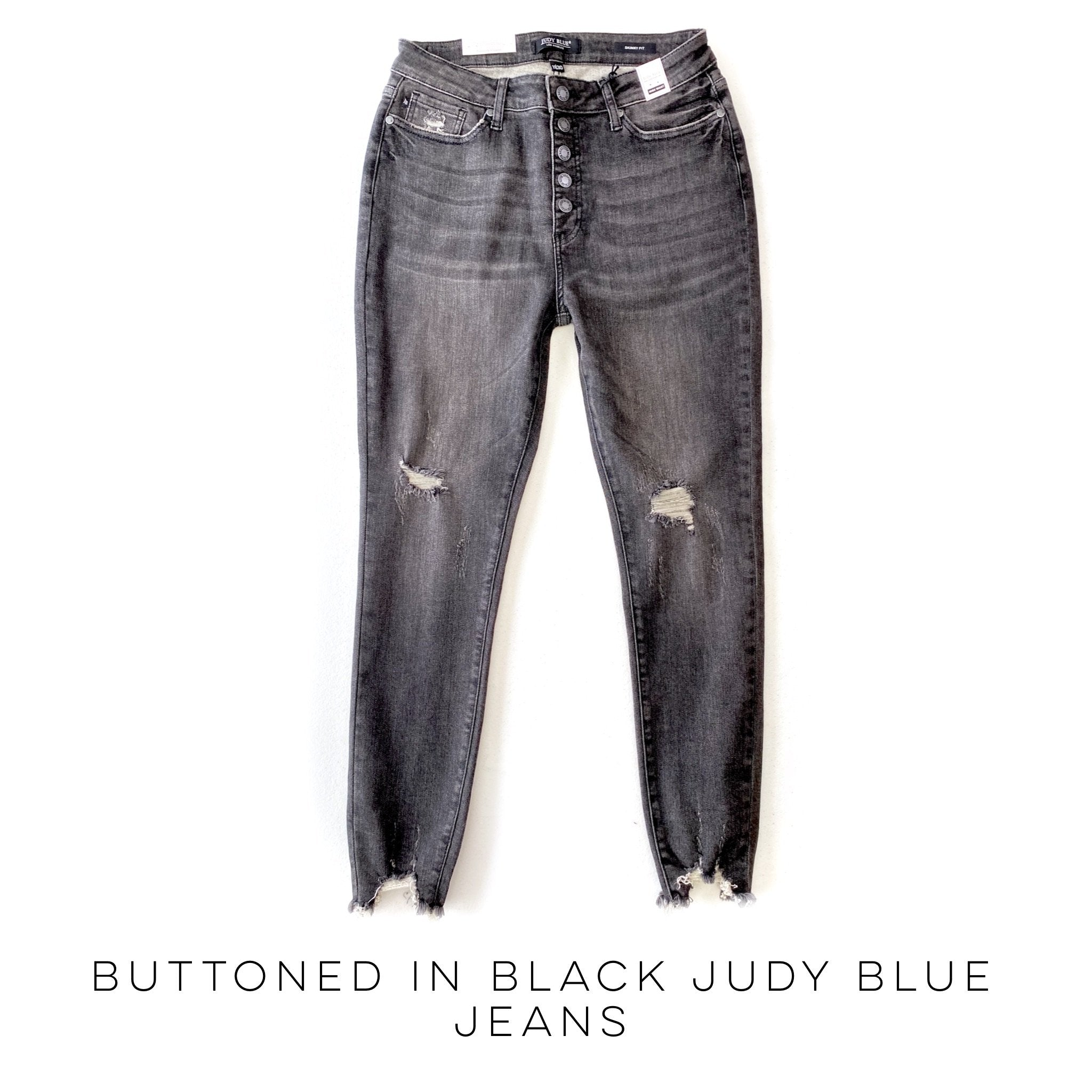 Judy Blue Button Fly Gray Jeans