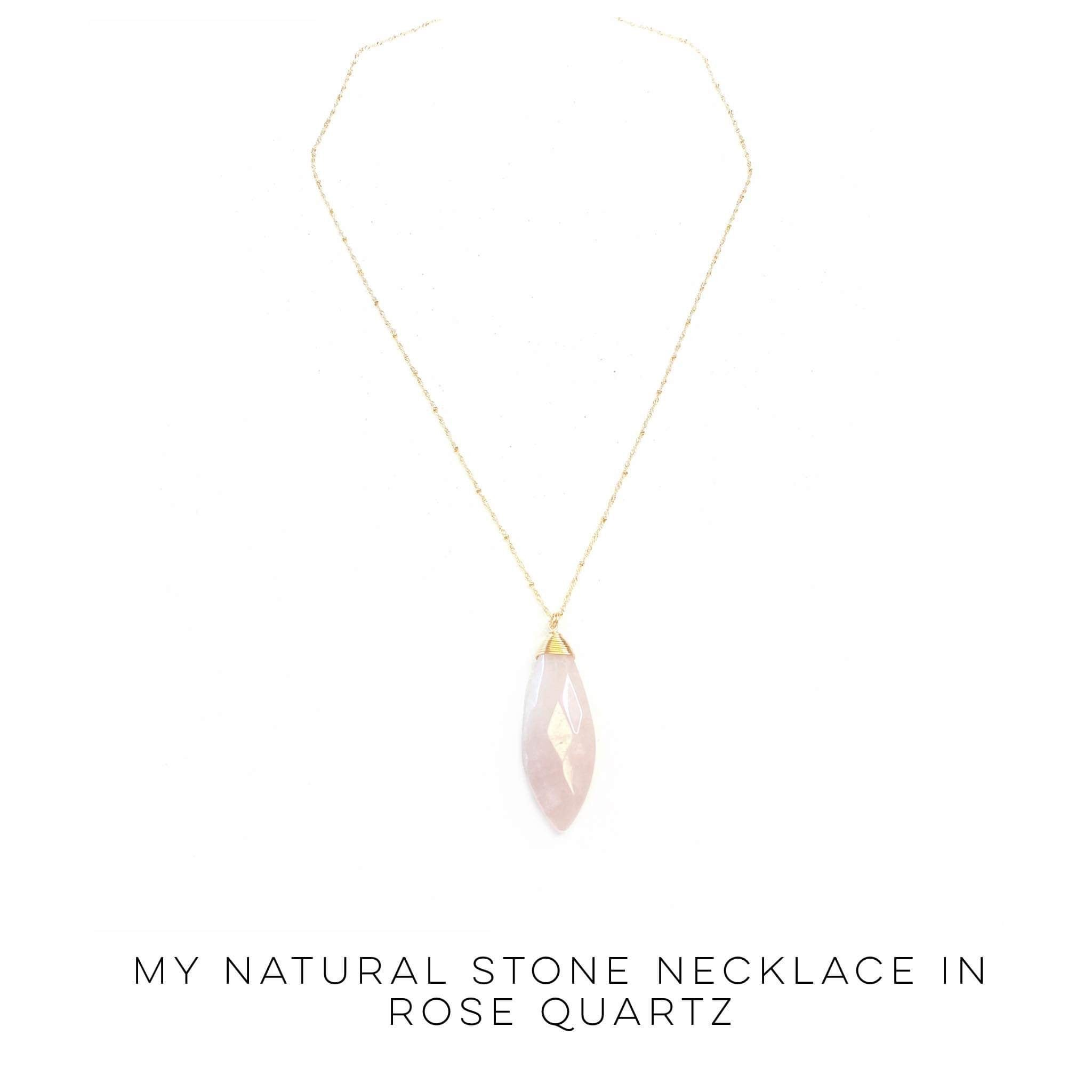 My Natural Stone Necklace in Rose Quartz