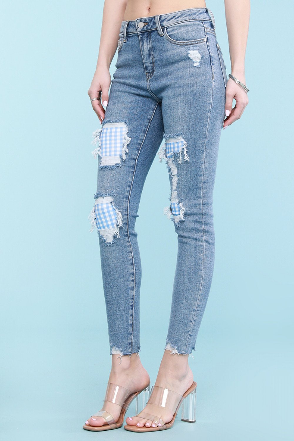 Judy Blue Gingham Patch Skinny Jeans