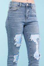 Load image into Gallery viewer, Judy Blue Gingham Patch Skinny Jeans
