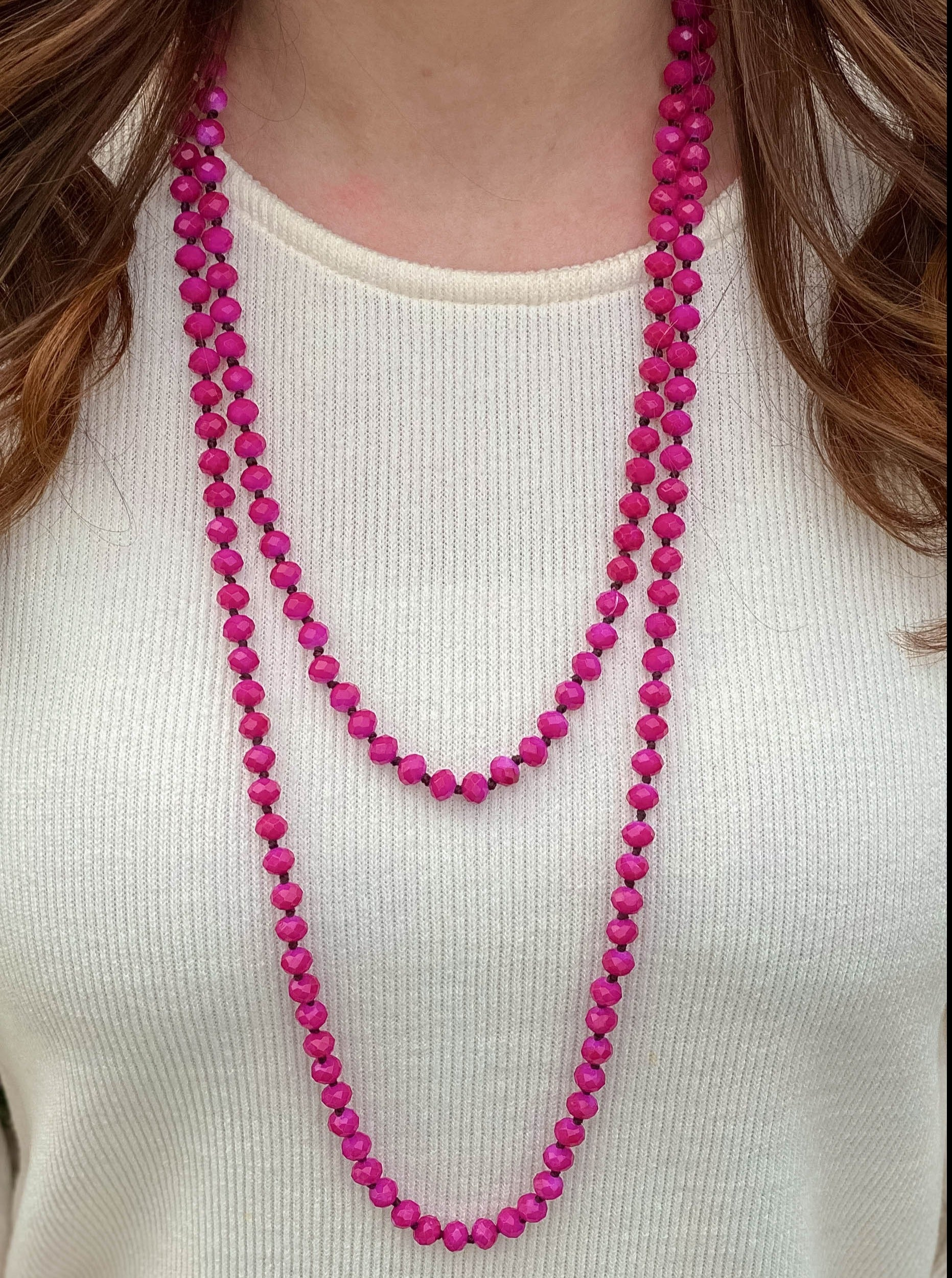 60 inch Pink Beaded Necklace