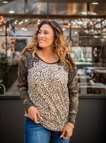 Load image into Gallery viewer, Charm The Room Lace Accent Top- Leopard