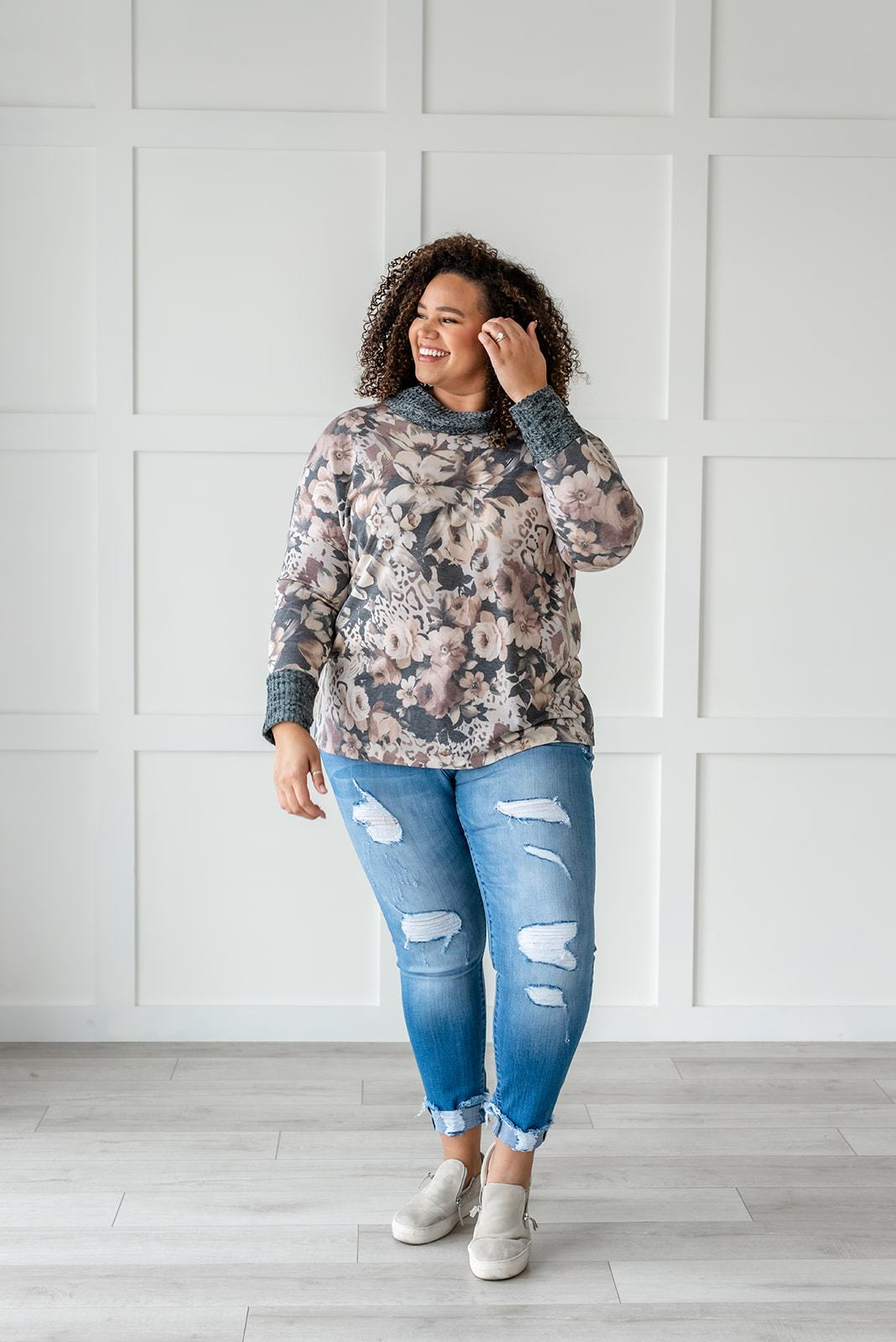Floral Cowl Neck Sweater