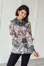 Load image into Gallery viewer, Floral Cowl Neck Sweater