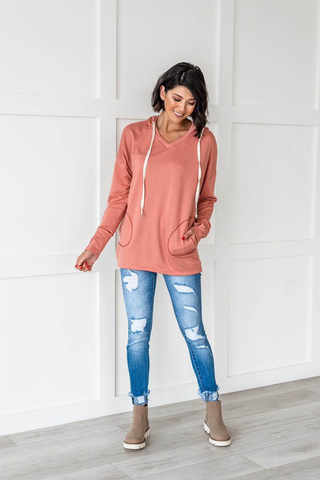 Coral Hooded Sweater