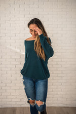 Load image into Gallery viewer, Teal Wide Neck Waffle Knit Top