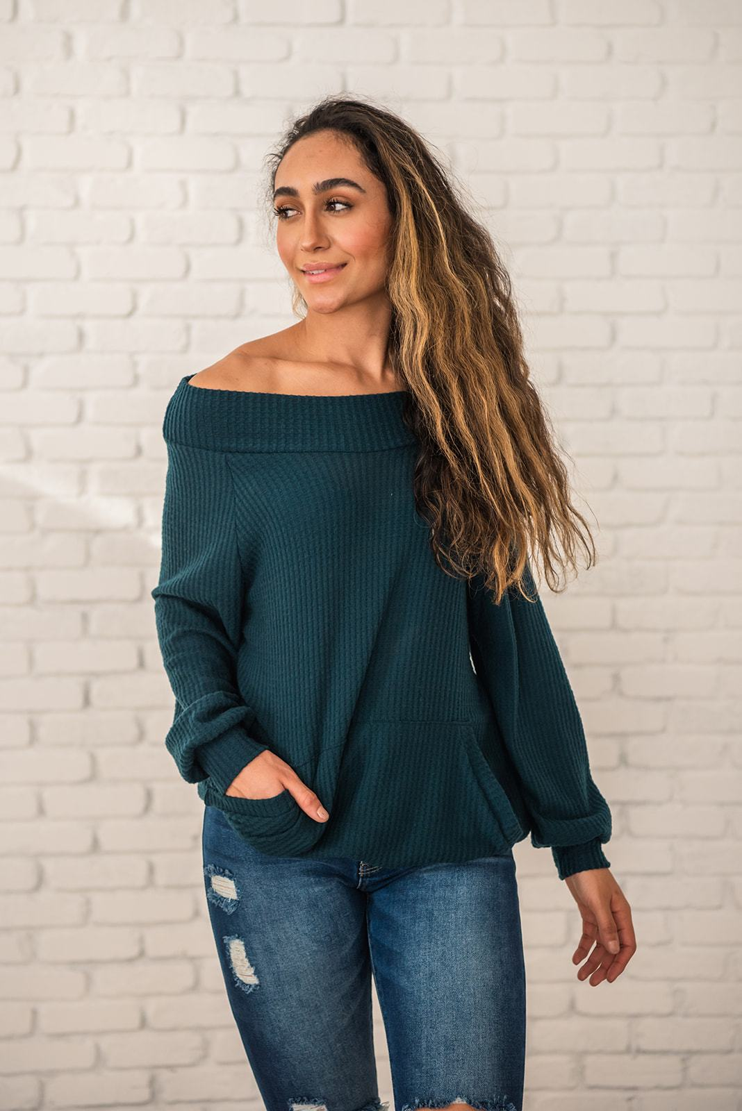 Teal Wide Neck Waffle Knit Top
