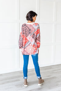 Long Sleeve Bandana Print Top