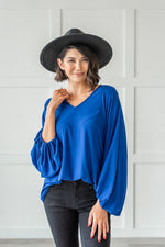 Load image into Gallery viewer, Royal Blue Bubble Sleeve Top