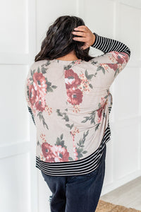 Striped Floral Contrast Top