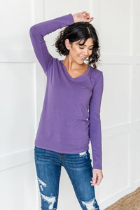 Lilac Long Sleeve v neck Top