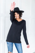 Load image into Gallery viewer, Black Basic Long Sleeve Tee