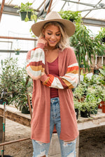 Load image into Gallery viewer, Mauve Contrast Striped Cardigan