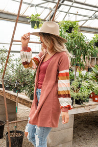 Mauve Contrast Striped Cardigan