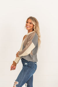 Mocha Color block Sweater