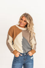 Load image into Gallery viewer, Mocha Color block Sweater