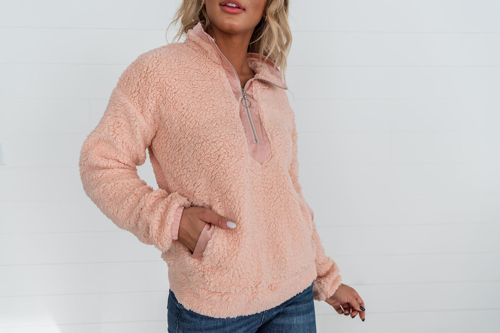 Pink Sherpa Pullover
