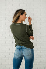 Load image into Gallery viewer, Olive Thermal Henley Top