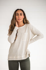 Load image into Gallery viewer, Ivory Ribbed Striped Top