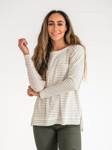 Ivory Ribbed Striped Top