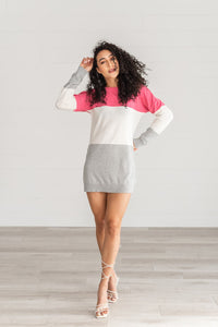 Long Sleeve Color Block Dress