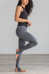 Gray High Waist Stirrup Leggings