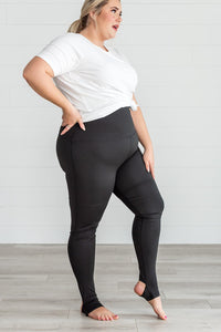 Black High Waisted Stirrup Leggings