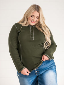 Olive Thermal Henley Top