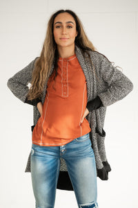 Charcoal Contrast Sleeve Cardigan