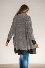 Load image into Gallery viewer, Charcoal Contrast Sleeve Cardigan