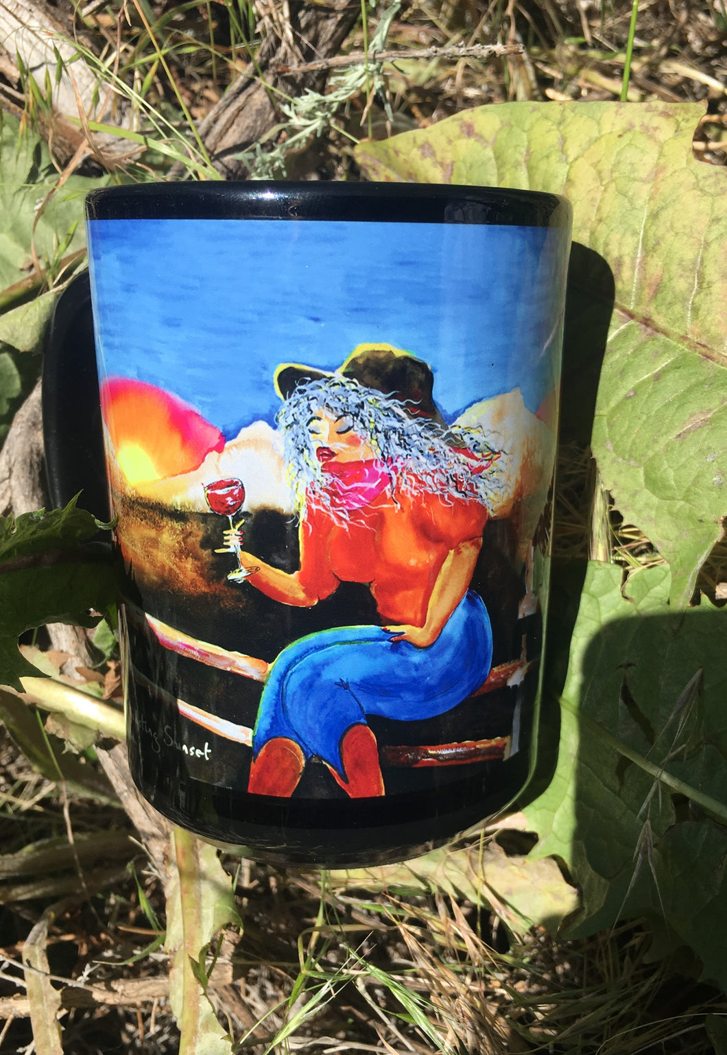 Toasting sunset mug