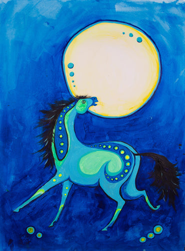 horse in the blue night