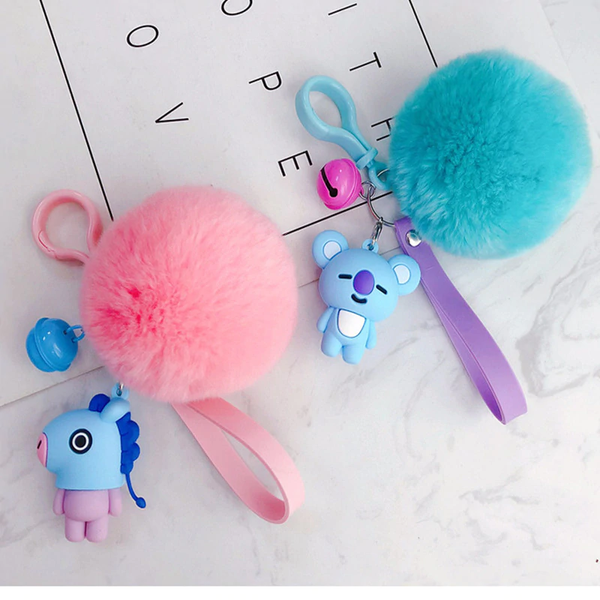 KPOP BTS BT21 Cute Fur Ball Plush Keychain Tata Chimmy Handbag Charm Pendant Key Holder Chain Accessory For Kid