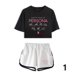 BTS Album Map Of The Soul Persona Two Piece Set Sexy Cotton Tshirt K-pop Fashion Tshirt Hip Hop Suit Shorts Casual Tops Shorts