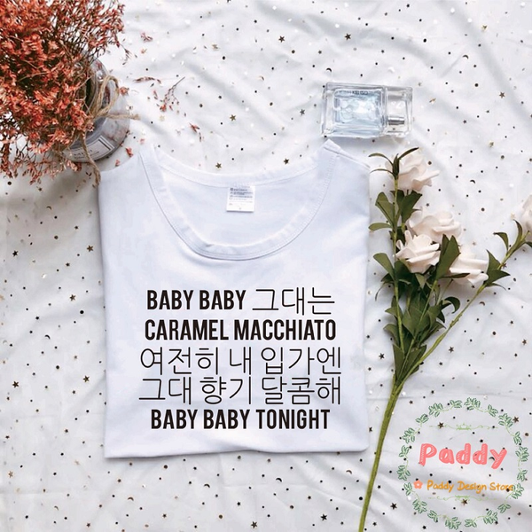 BTS KPOP korean style streetwear BABY BABY CARAMEL MACCHIATO t shirt unisex women top letter print graphic befree plus size tee