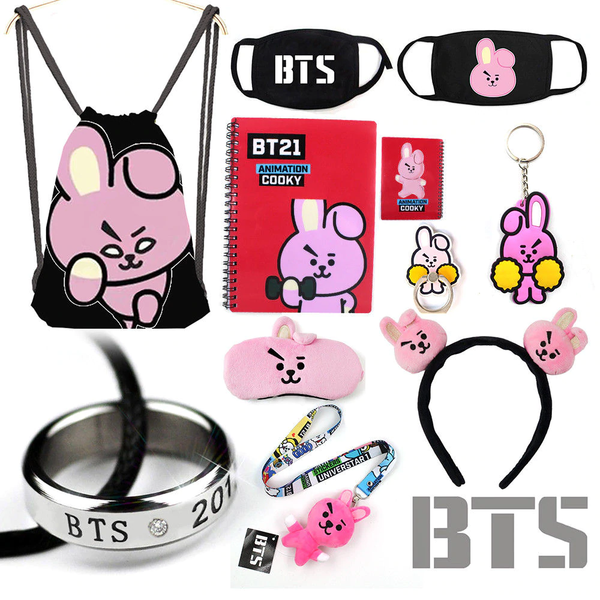 Bangtan Boys BTS BT21 TATA COOKY MANG KOYA Drawstring Bag Notebook Half Face Mask Keychain Layers Costume Decor