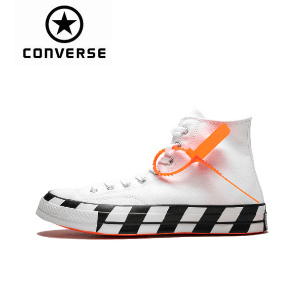 "Converse Chuck 70 Hi Off White ""Off-White"" Classic Skateboarding Shoes Unisex Canvas Anti-Slippery Sneakser 163862C"