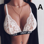 Sexy Lingerie Bra Translucent Bandage Lace Flower Cross Belt Hollow Deep V Bra Intimates Ladies Underwear Lace Bra Hollow