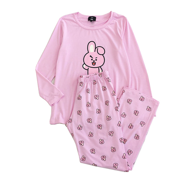 Kpop BTS BT21 Pajamas Set Women Bangtan Boys Cartoon Version Suga Harajuku Pajamas Sleepwear Long Sleeve Shirt Men Women Bedgown
