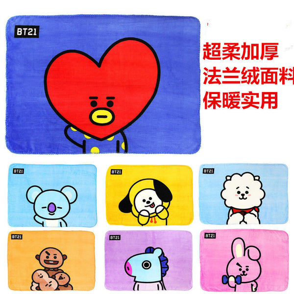 Kpop BTS BT21 Cute Flannel Blanket by Home Plus Aircraft Sofa Use Office Children Blanket Towel Travel Blanket