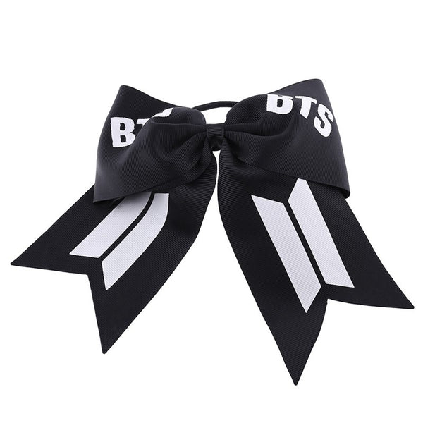 KPOP BTS Bangtan Boys Bow Hair Circle Ribbon Bow Hair Ring Bow Hair Clip Festival BTS Fans Hair Bands Rubber Rope Headdress